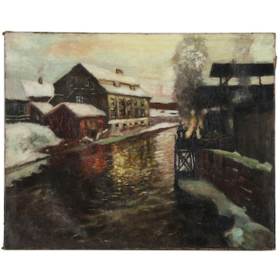 Oil Painting in the Style of Fredrick Wagner Industrial Scene in Winter
