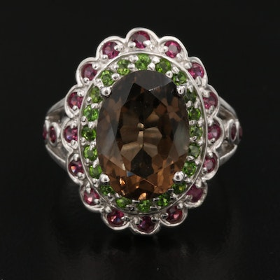 Sterling Smoky Quartz, Diopside and Garnet Ring