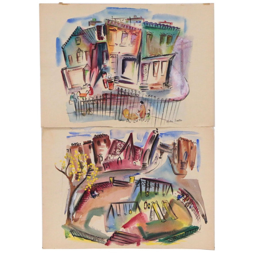 Helen Malta Abstract Watercolor Paintings of Street Scenes and Playground