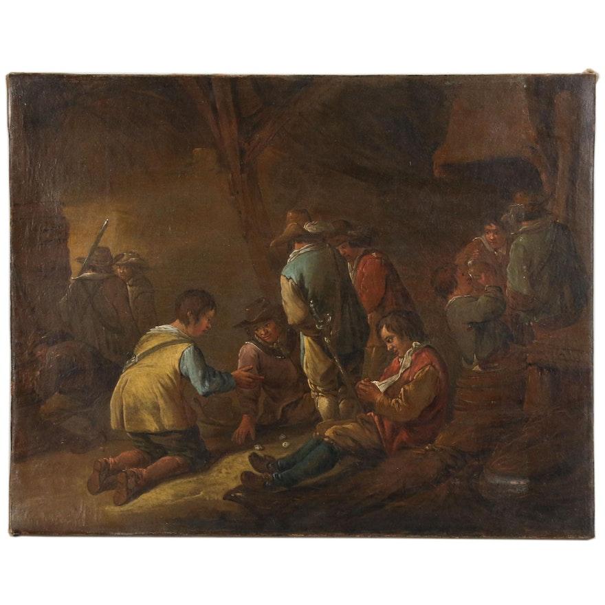 "Dutch School Tavern Scene Oil Painting ""Le Duc de Bourgnone"""