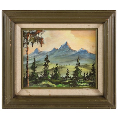 Montanola Impressionist Style Oil Painting of Mountain Forest Landscape
