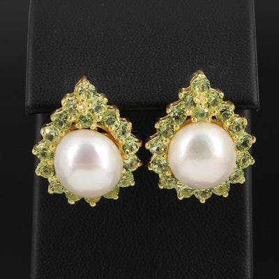 Sterling Pearl and Peridot Earrings
