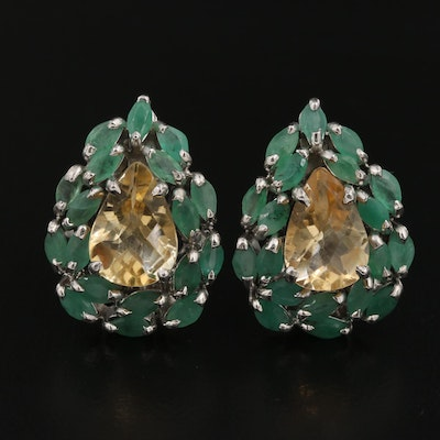 Sterling Silver Citrine and Emerald Earrings
