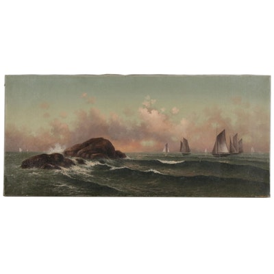 Nautical Oil Painting of Sailboats at Sea, 20th Century