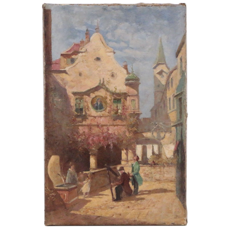 European Scene with Man Playing Harp Oil Painting, Early 20th Century