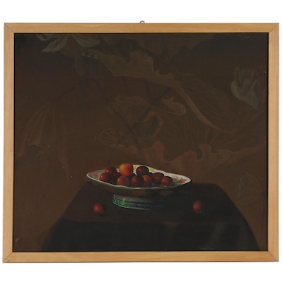 Still Life Oil Painting with Cherries, Late 20th Century