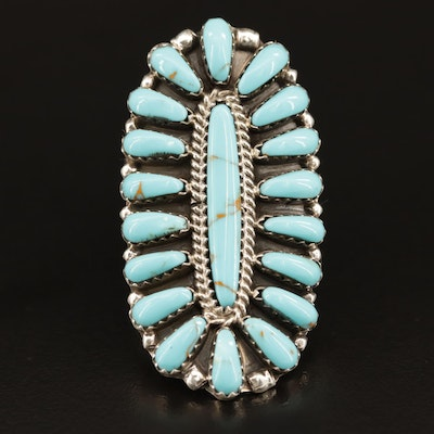 Dan Brown Navajo Diné Sterling Silver Petit Point Turquoise Ring