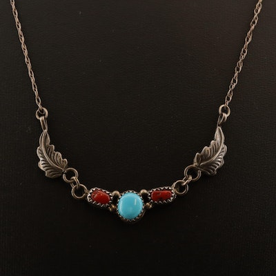 Richard and Rita Begay Navajo Diné Sterling Silver Turquoise and Coral Necklace