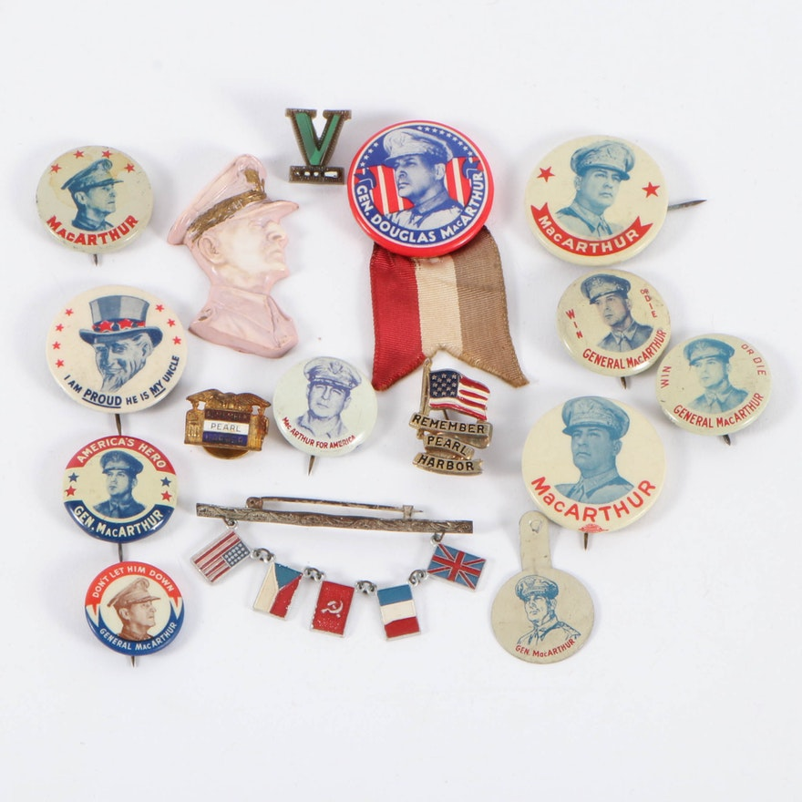 General MacArthur Pinbacks, Remember Pearl Harbor, Allied Flags and More