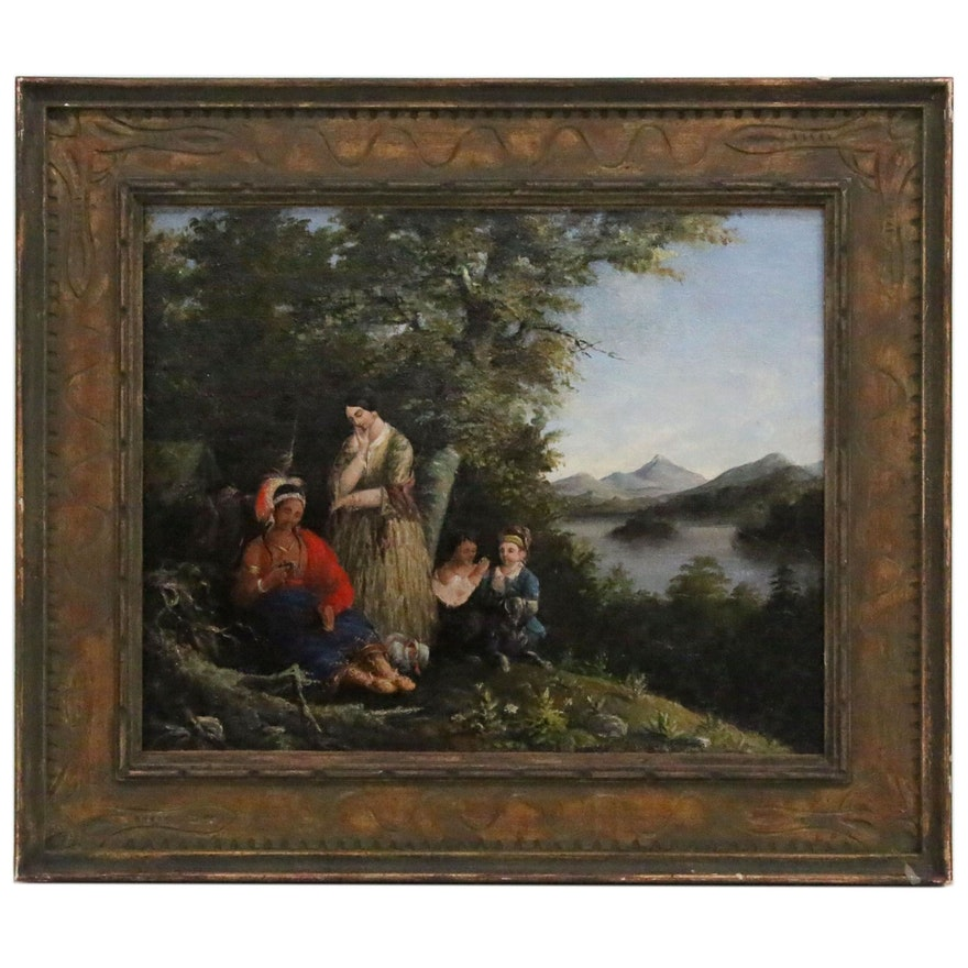 Figural Oil Painting in the Manner of Jerome B. Thompson, Late 19th Century
