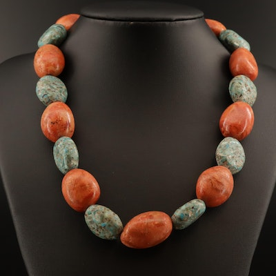 Coral and Turquoise Bead Necklace with Sterling Silver Clasp