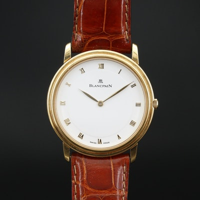 Blancpain Villeret Ultra Slim 18K Gold Stem Wind Wristwatch