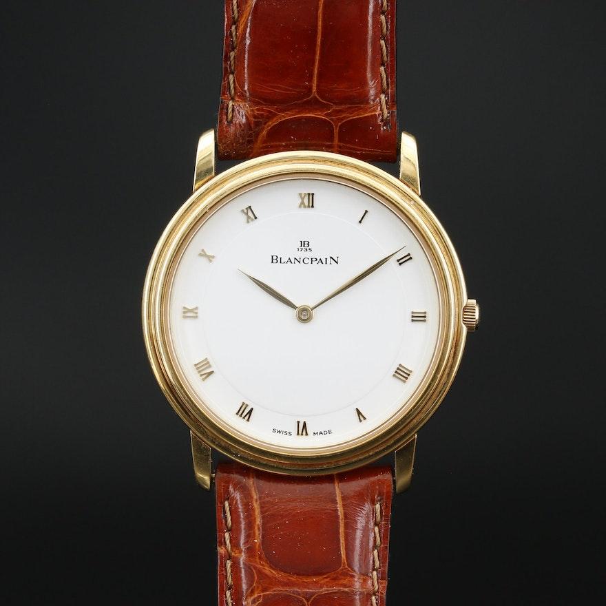 Blancpain Villeret Ultra Slim 18K Gold Stem Wind Wristwatch