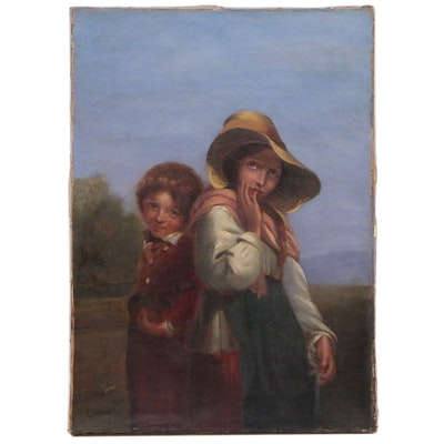 """Oil Painting after Richard Rothwell """"Novitiate Mendicants"""", Early 20th Century"""