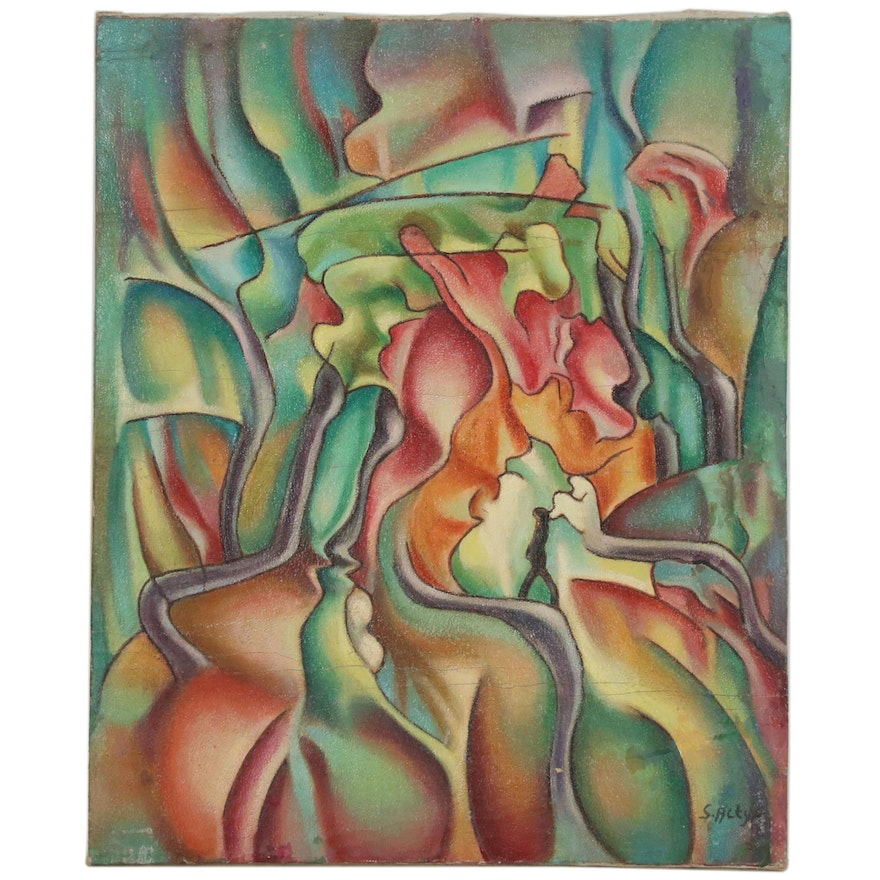 Zoe Suzi Actypi Abstract Landscape with Figure Oil Painting
