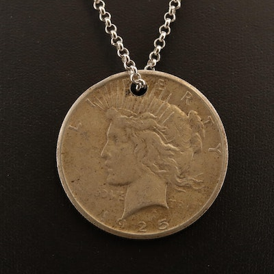 Sterling Silver Necklace with 1925 Silver Peace Dollar