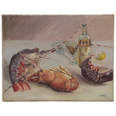 Still Life with Lobsters and Wine, Mid 20th Century