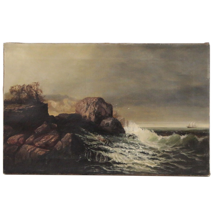 Rocky Coastline Seascape Oil Painting, Late 19th to Early 20th Century