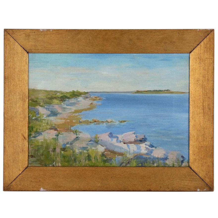 Costal Seascape Oil Painting, Early 20th Century
