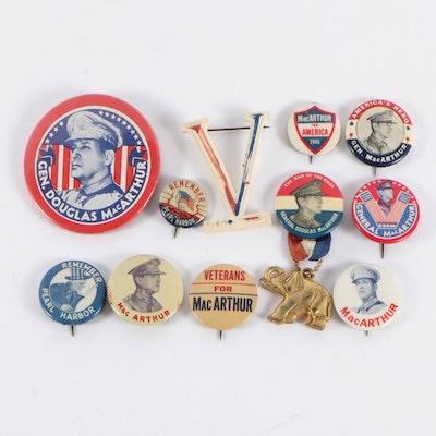 General Douglas MacArthur Campaign and Remember Pearl Harbor Pinbacks