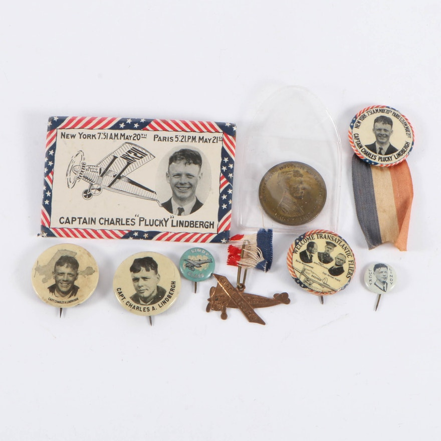 "Charles ""Plucky"" Lindbergh Transatlantic Flight Pinback and More, 1920s-1930s"
