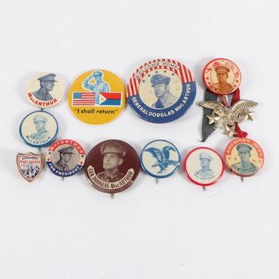 """Remember Pearl Harbor"" Pin, ""I Shall Return"" Mirror and MacArthur Pinbacks"