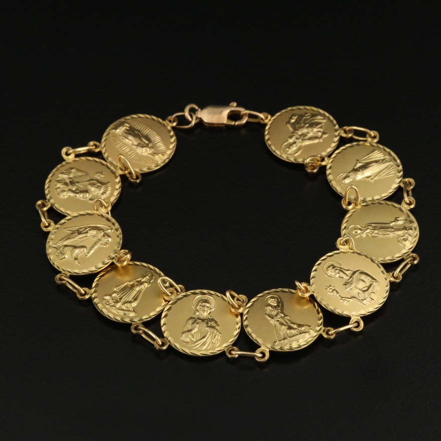 14K Catholic Saint Link Bracelet
