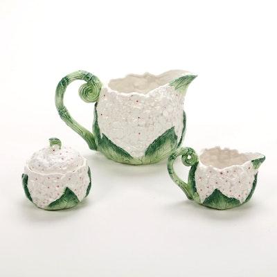 """Fitz & Floyd """"Hydrangea"""" Ceramic Pitcher, Creamer, and Sugar Bowl, 1990"""