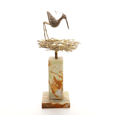 Curtis Jeré Metal Bird on Nest with Onyx Base Figurine