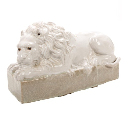 Ceramic Lion Floor Figurine