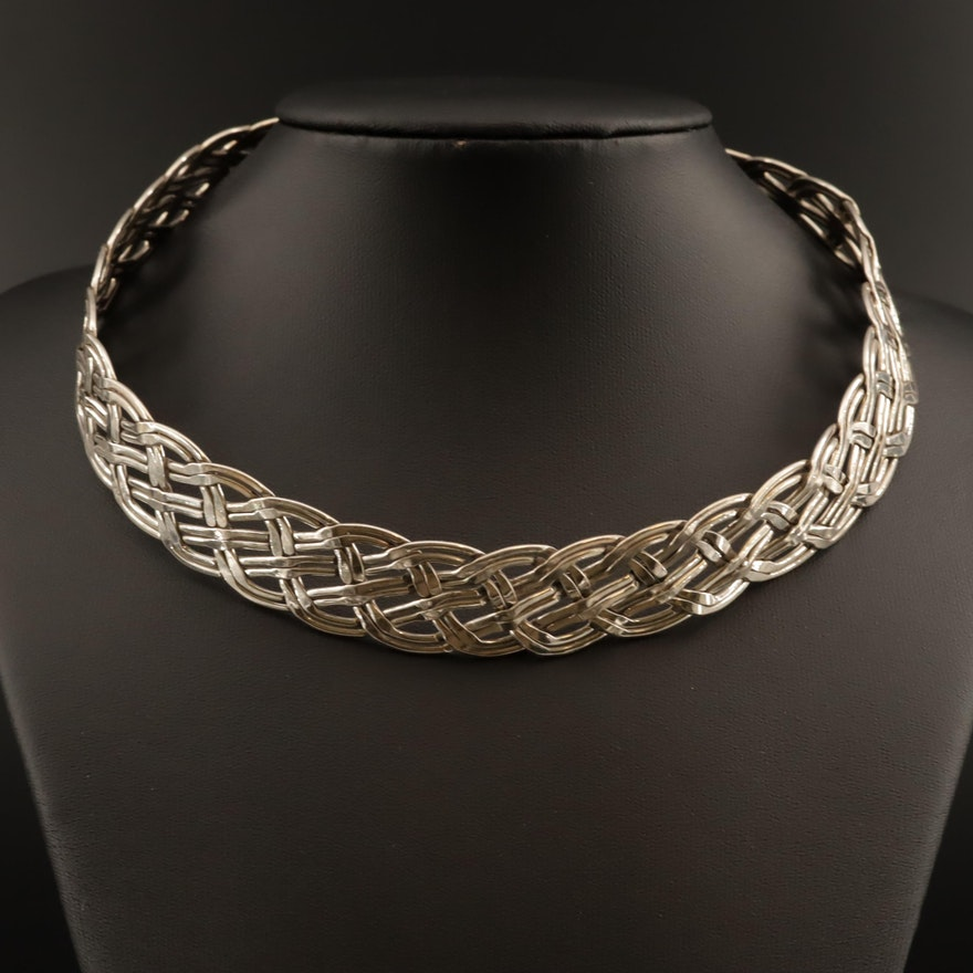 Sterling Silver Braided Collar Necklace