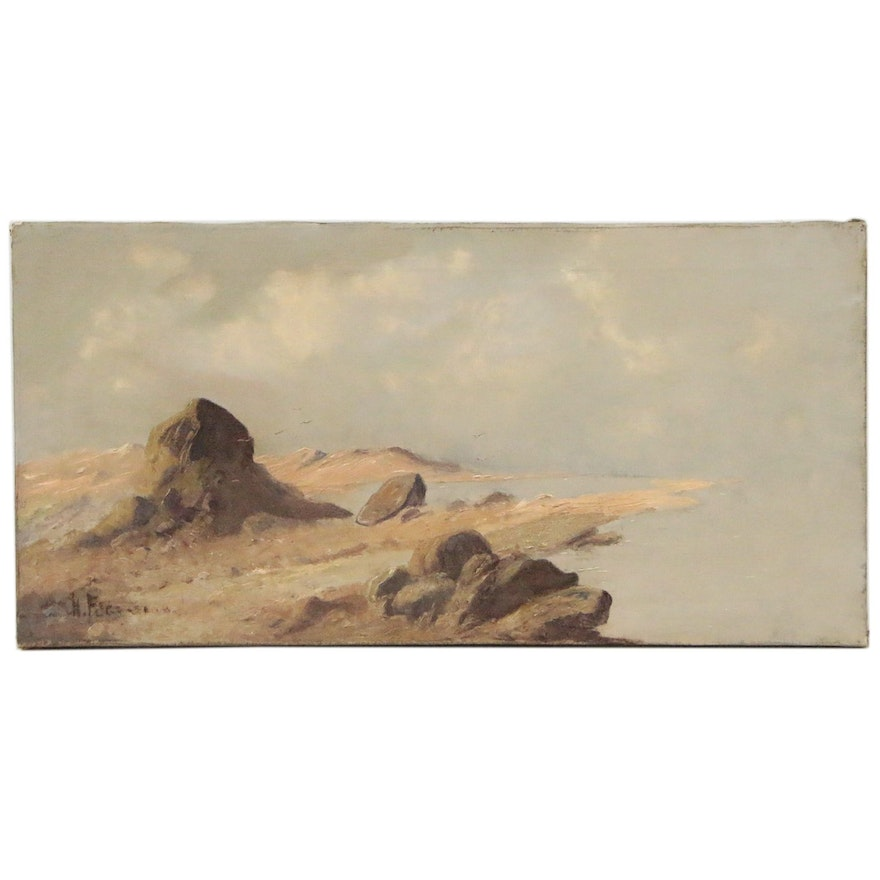 Coastal Seascape Oil Painting, Late 19th-Early 20th Century