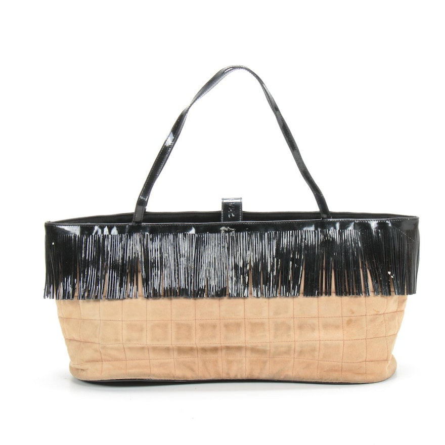Chanel Black Patent Leather Fringed Shoulder Bag in Chocolate Bar Quilted Suede