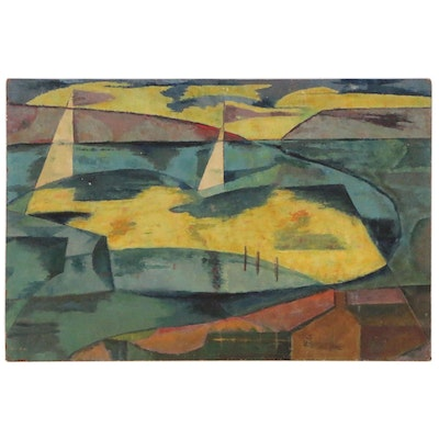 Abstract Modernist Landscape Oil Painting