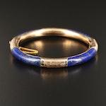Vintage 14K Lapis Lazuli Hinged Bangle with Engraved Design