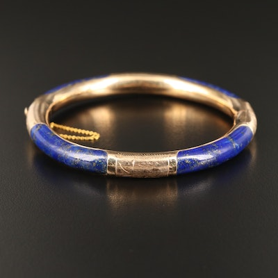 Vintage 14K Lapis Lazuli Hinged Bangle with Engraved Design