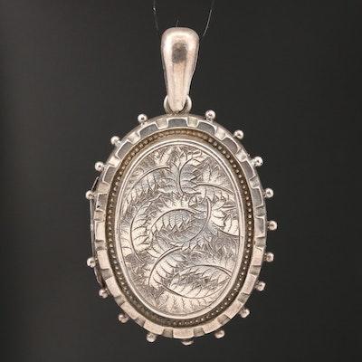 Circa 1882 English Sterling Silver Etched Leaf Locket