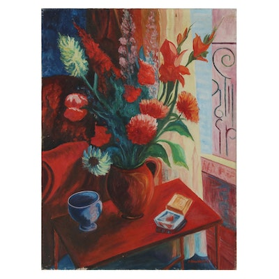 Modernist Floral Still Life Oil Painting, Mid 20th Century