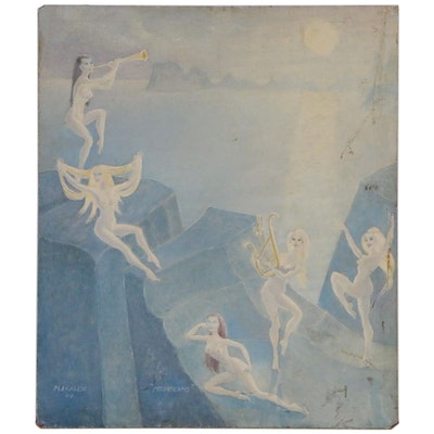 "M. Larsen Oil Painting of Women at Shore ""Moonbeams"", 1964"