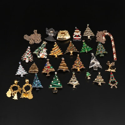 Collection of Christmas Jewelry Featuring Wallace Silversmiths and Hollycraft