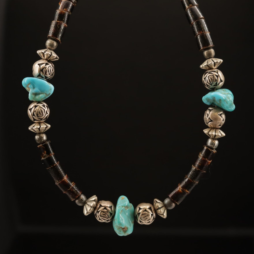Turquoise and Horn Beaded Necklace