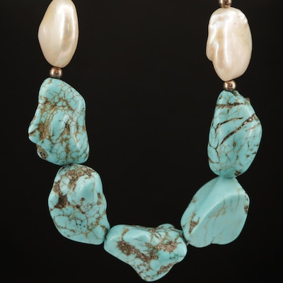 Sterling Turquoise and Coin Pearl Necklace