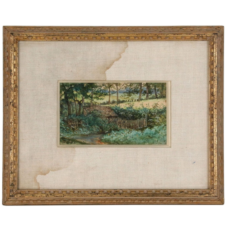 Countryside Landscape Watercolor Painting, Mid 20th Century
