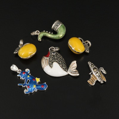 Sterling Enamel and Marcasite Charms