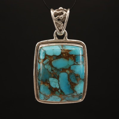 Sterling Silver Turquoise Square Bezel Set Pendant