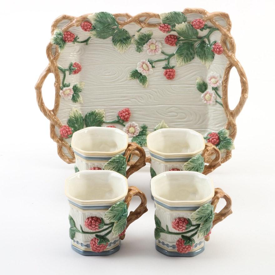 "Fitz and Floyd Dessert Sets ""English Garden"" Mug and Tray, Late 20th Century"
