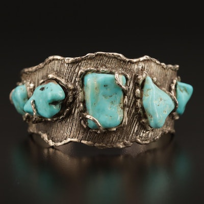 Signed Sterling Turquoise Cuff