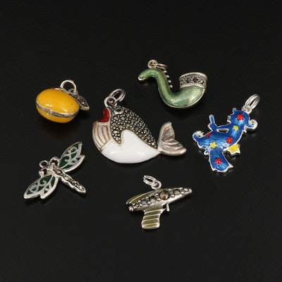 Sterling Silver Charm Selection Featuring Enamel and Marcasite Accents