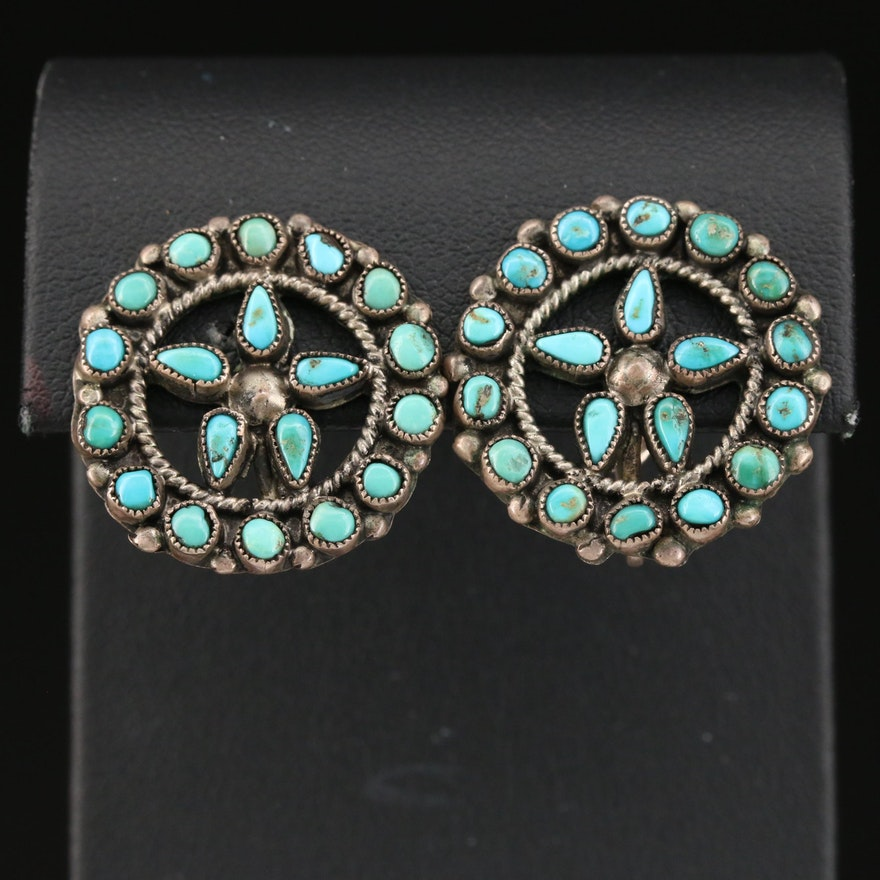 Western Sterling Turquoise Petit Point Earrings