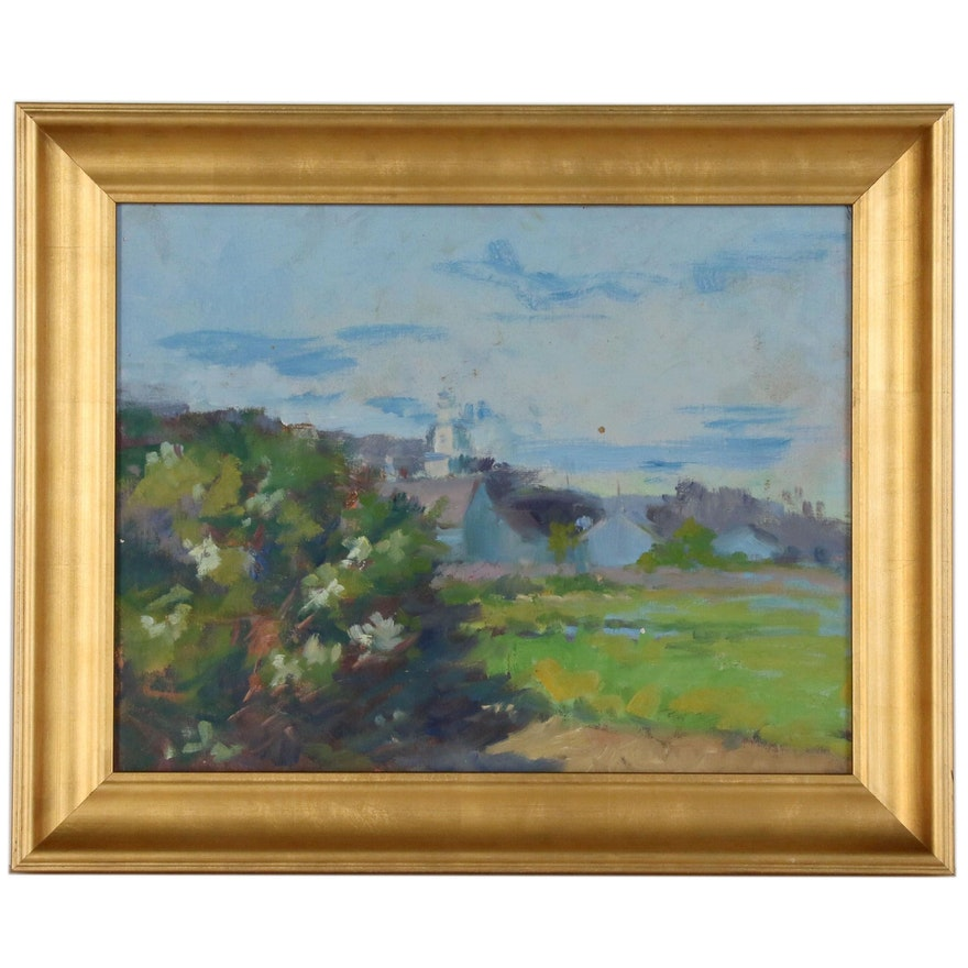 Spring Landscape with Church Oil Painting, Late 20th Century